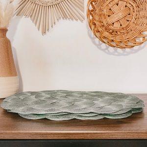Vintage Sage Green Circle Weave Boho Placemats